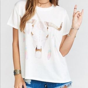 Show Me Your Mumu Feather Drop Bull Graphic